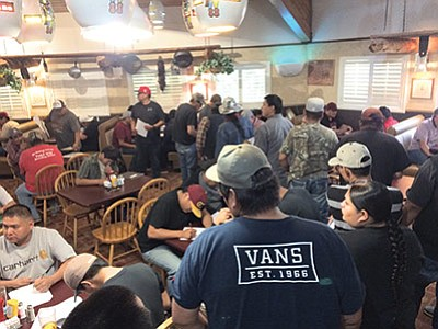 Local Navajo and Hopi tribal members attend a construction job fair at Tuba City's Hogan Restaurant last week for a K-5 school in the Tuba City-Moencopi community. Photo/Rosanda Suetopka