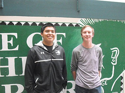 Tuba City High School 2016 Salutatorian Kolton Chato (left) and 2016 Valedictorian Shane Moran. Photo/Rosanda Suetopka