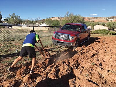 Navavjo Nation Vice President Jonathan Nez plants his garden at his home in Window Rock, Arizona. Submitted photo
