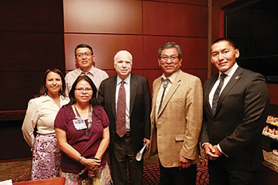 Sen. John McCain meets with Navajo Nation President Russell Begaye and others at Twin Arrows July 25. Submitted photo