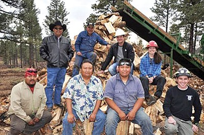 Alamo Navajo and Kaibab National Forest representatives sit on a pile of firewood generated from forest restoration partnership efforts. Back row, from left: Steve Guerro, Carl Livingston, Mike Lyndon and Jessi Ouzts, (front row, from left) Dandolf Apachito, Earl Apachito and Tyrone Monte, Jonathan Word. Photo by Dyan Bone, Kaibab National Forest.
