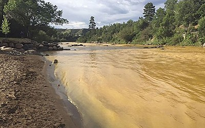 The Animas River runs yellow with toxin-tainted wastewater in August after a spill from the abandoned Gold King Mine near Silverton, Colorado. Photo/Colorado Parks and Wildlife Department via Reuters