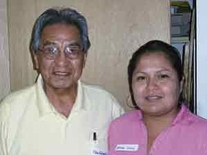 James Nez/Observer  Peter MacDonald, left, former Navajo Tribal Chairman, and Jellanna Williams, former DineÕ College-Tuba City Director, at the economic work session in  Shonto.