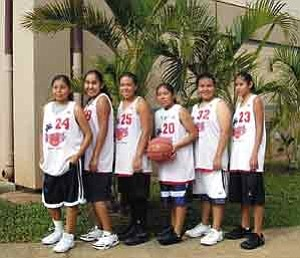 Photo courtesy of Kim Williams  Tuba City District #15 was recently honored by its six young women basketball representatives in the USA Tourney National Basketball Championship in Oahu, Hawaii. Pictured, from left, are Tierra Maho (Hopi Tribe), Nicole Yellow (Navajo Nation), Alicia McGertt (Navajo Nation), Candace Williams (Navajo Nation), Tierra Shepperd (Navajo Nation) and Amber Williams (Navajo Nation).