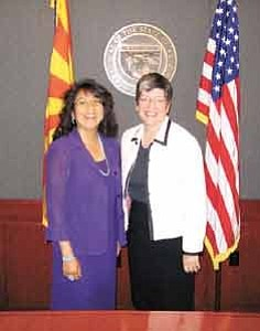 Photo by George Hardeen/ Navajo Nation First Lady Vikki Shirley, left, pictured with Arizona Governor Janet Napolitano on Aug. 12.