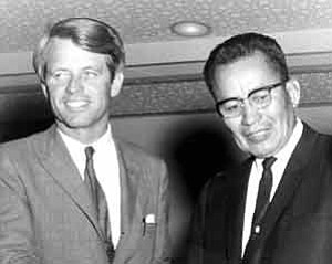 Photo courtesy of the Navajo Nation Office of President and Vice President/ The late Bobby Kennedy, left, is pictured with former Navajo Tribal Chairman Raymond Nakai.