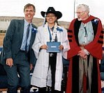 Photo by Stan Bindell Hopi Principal Glenn Gilman, left, Thomasena Russell and HarvardÕs Dr. David Potter at Hopi High SchoolÕs May 27 commencement.