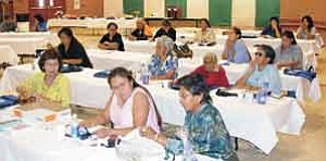 "Photo by Byron Poocha/TC District Media Team Parents and community members of TC District's Dzil Libei Elementary School were able to participate in a day-long Parent Institute in September that will enhance their skills as ""the first and primary educators"" for their children and grandchildren. Topics on educational trends and state education information were offered along with a special lunch and door prizes"