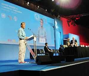 Photo by George Hardeen Navajo President Joe Shirley, Jr., addresses the planning session for the World Summit on the Information Society in Ottawa, Canada, last March. He said the Navajo Nation is committed to UN goals of ending extreme poverty around the world through Information, Communications and Technology.