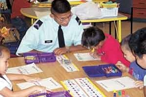 Photos courtesy of Pinon High Junior ROTC Cadet Cpl. Shane Haskie assists Pinon Elementary students with pattern recognition.