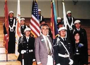 Photo by Stan Bindell The Hopi High Junior ROTC color guard posted the colors at the inaugural ceremony of Hopi Chairman Ivan Sidney and Hopi Vice Chairman Todd Honyaoma Sr. at Hopi Jr/Sr High School Dec. 1. Here they pose with Navajo Nation President Joe Shirley and First Lady Vikki Shirley.