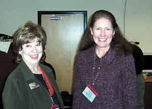 Courtesy photo NATIVE Superintendent Karen Lesher, left, and Arizona State Rep. Ann Kirkpatrick in Kayenta Nov. 29 for the inauguration of NATIVEÕs Distance Learning Network.