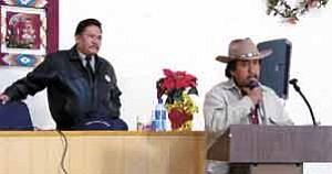 S.J. Wilson/Observer Thomas Walker Jr. listens as Eddie Kee Yazzie addresses an audience of social workers on Jan. 6.