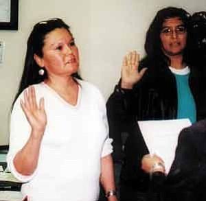 Photo by Stan Bindell Hopi Jr/Sr High School Governing Board Member Bonnie Secakuku (left) and School Board President Valerie Koyaquaptewa were sworn into office Jan. 10.