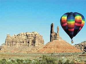 Photo courtesy of Bluff Balloon Festival  This photo from last year's festival shows a balloon soaring over the Valley of the Gods.
