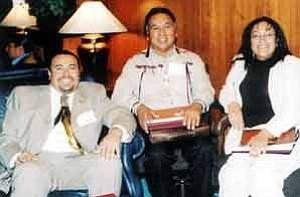 Stan Bindell/Observer Apache Chairman Jamie Fullmer, left, Kaibab Paiute Chairman Gary Tom and Salt River Pima President Jamie Ramos.