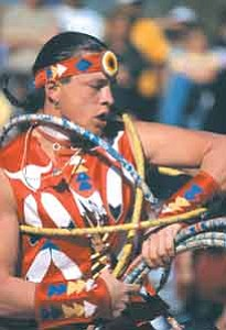 Photo courtesy of the  Heard Museum On Feb. 5, 27-year-old Dallas Arcand, Cree, from Alberta, Canada, won the 2006 World Hoop Dance Championship at the Heard Museum in Phoenix.