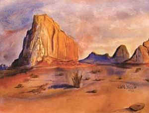 "Photos courtesy of the Museum of Northern Arizona/Dan Otts<BR><BR> ""Desert in the Morning"" by First Place Winner in watercolor Carl Yazzie from Chinle High School, Grade 12"