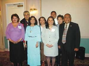Photo courtesy of TCRHCC Navajo Nation President Joe Shirley Jr., (second from left) First Lady Vikki Shirley (third from left), Hopi Chairman Ivan Sidney (right) and the Tuba City Regional Health Care Corporation Diabetes Prevention Program Staff.