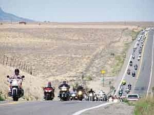 Photo by Karen Francis/Office of Navajo Nation Speaker The honor riders just a few miles before arriving in Shiprock, N.M. on May 18.