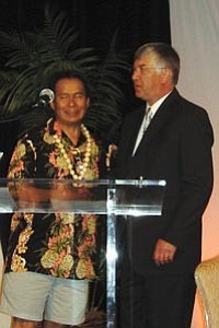 Courtesy photo Marty Shuravloff, right, the newChairman of the National American Indian Housing Council