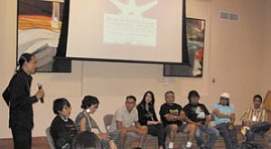Rebecca Schubert/the Observer Klee Benally (left) leads a panel discussion during the Southwest Native American Film and Video Festival held July 15 at the Museum of Northern Arizona. Pictured are Native film directors/makers Shelby Rae, Leahn Cox, Darwyn Roanhorse, Sandra Shulman, Norman Brown, Dustinn Craig, Darren Gordy and Shonie De La Rosa.