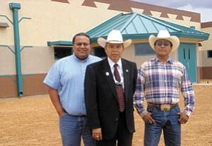 Courtesy Photo Shonto Prep Governing Board vice president Robert Black Jr., left, Navajo Nation Vice President Frank Dayish Jr. and Board president Raymond J. Holgate.