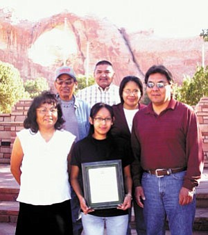 Photo by Ford Ashley Clockwise from top are Frederick Bitsui, principle engineer technician; Cherri Yazzie, intern; James Benally, senior environmental specialist;  Violet Tsosie, intern;  Angie Roan, senior office specialist; and Jim Littlesinger, engineering technician.