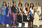 Miss Navajo Nation Jocelyn Billy (at right) stands with other members of Hopi and Navajo tribal royalty at the Native American Youth Leadership Conference held at the ASU-West in Glendale on Oct. 19.