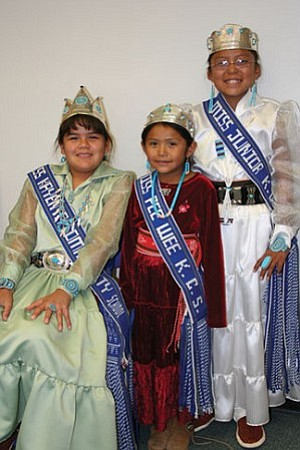 Courtesy photo Kayenta Community School recently held its Miss Kayenta Community School Pageants as part of Eagle Pride Week, Oct. 16-20. The winners of the pageants were: Miss Kayenta Community School, Cheyenne Peterman (left), daughter of Anthony and Corrine Peterman of Kayenta; Miss Pee Wee Kayenta Community School, Danielle Zeena, daughter of Gordon and Beverly Singer of Kayenta (center); and Miss Junior Kayenta Community School, Nelsine Black, daughter of Nelson Black and Adeline Granson of Mexican Hat, Utah.