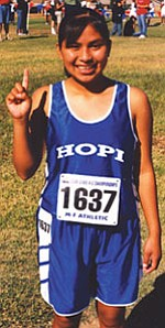 Hopi HIgh School runner DeAnne Honanie placed third at the Arizona State Cross-country meet (Photo by Stan Bindell).