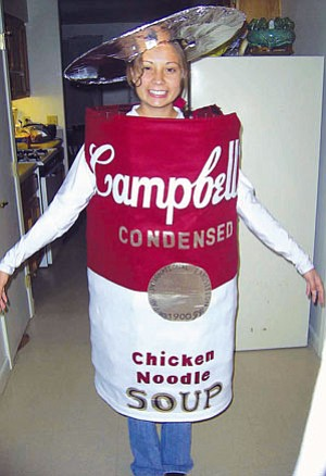 Kirsten Nelson models her ingenious can costume.