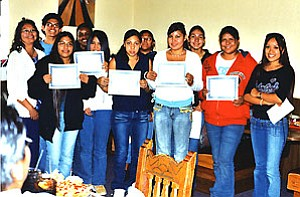 The Hopi HIgh School juniors at right are just a few of the 24 outstanding students honored Nov. 16 at the Hopi Cultural Center as October students of the month (Photo by Stan Bindell).