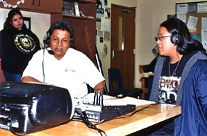 Ben Miranda (left) is interviewed by Emmalynn Thompson on KUYI (Photo by Stan Bindell/ The Observer).
