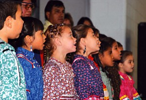 The Cherokee Head Start language immersion class singing at the event.