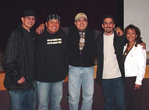 "Pictured from left to right: Gabriel Yaiva of 4th World Entertainment, James Junes and Ernest Tsosie III (""James and Ernie""), Shonie De La Rosa, and Andee De La Rosa (Photo by Somana Yaiva)."