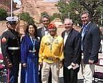 Photo by George Hardeen Pictured are Marine Teddy Draper III (left), First Lady Vikki Shirley, Navajo President Joe Shirley Jr., Teddy Draper Sr., Maj. Gen. Gene Renzi and Congressman Rick Renzi.