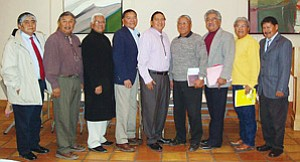 Pictured above are candidates for Hopi Chairman during the Candidate Forum held at Northern AZ Museum on Jan 8. Pictured from left are: Wilbur Maho, Harold Joseph, Wayne Kuwanhyoima, Hernal Dallas, Dr. Alan Numkena, Eljean Joshevama, Clifford Qotsaquahu, Valjean Joshevama, Jr., and Harry Nutumya (not pictured Caleb Johnson; Photo courtesy of Hopi Elections).