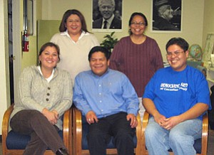 Pictured are the newly selected officers of NADNA. Back row: Christina Carr, Secretary and Genevieve Begay, Executive Committee Member. Front row: Winona Reid, Chairwoman; Anslem Yazzie, Vice Chair; and Joshua Lavar Butler, Executive Committee Member (Photo by Diane Lenz).