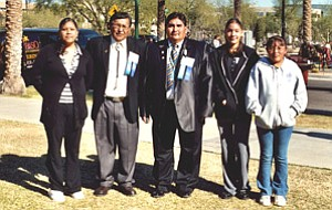 Hopi Junior/Senior High School students with Hopi Vice Chairman Todd Honyaoma and Navajo Nation Vice President Ben Shelly at the 12th annual Indian Nations and Tribes Legislative Day held Jan. 16 in Phoenix (Photo by Stan Bindell/Observer).
