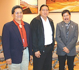 Hopi Tribal Chairman finalists at a candidates forum held at the Museum of Northern Arizona. Pictured from left are Ben Nuvamsa, Dr. Alan Numkena and Harry Nutumya. The forum was held to further discuss the strengths and ideas of each finalist (Photo by Rebecca Schubert/Observer).