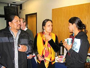 Kelvin Long, Winona LaDuke and Wahleah Johns take a break during the Renewable Energy Workshop at NAU (Photo by Andy Bessler).