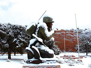 A statue in Window Rock that honors Navajo code talkers is shown in this photo provided by the Navajo Nation. The statue is the model for a planned memorial to Navajo code talkers in Wesley Bolin Plaza outside the State Capitol. The Senate Committee on Appropriations on Monday approved $100,000 for the monument, but some senators raised concerns about honoring Navajos above other American Indian tribes that had members serve as code talkers (Photo by Michael Smith, Courtesy of the Navajo Nation).