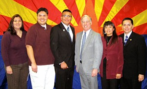 Howard Dean, Chair of the Democratic National Committee, met with a Navajo delegation on March 2 in Phoenix. L-R: Winona Reid, Chair of NADNA; Joshua Lavar Butler, Director of Public Relations; Alray Nelson, Navajo Nation OPVP; Gov. Howard Dean, Chair of DNC; Arista LaRusso, Tribal Outreach Director; and Lamont Yazzie, Navajo Nation OPVP (Photo by Patty Ferguson).
