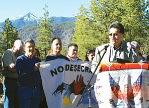 Hopi Tribal Chairman Ben Nuvamsa addresses Peaks ruling supporters at a press conference at Buffalo Park on Monday, March 12 (Photo by Wells Mahkee Jr./Observer).