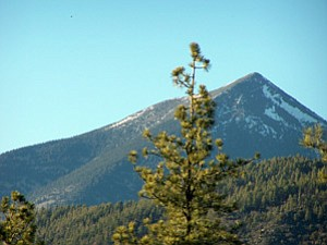 The sacred San Francisco Peaks (Photo by Wells Mahkee Jr./Observer).
