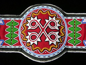 Close up of the detail on a beaded bandolier by Roger Amerman (Choctaw Nation of Oklahoma; photo courtesy of the artist/SWAIA).