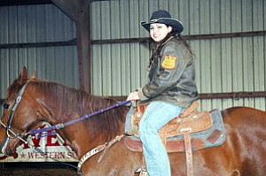 Cherokee barrel racer Tiffany Teehee of Claremore finished third in the world barrel racing standings at the International Finals Rodeo held last December in Oklahoma City (Courtesy photo).