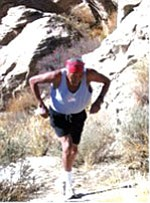After running 130 miles from the Hopi mesas, the H2OPI Messengers including Hopi runner Bob Harris (above) will arrive in Sedona on April 22 carrying the gift of water (Photo by Joan Price).
