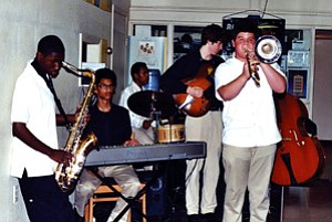 New Orleans Kreative Arts Band played the jazzy tunes during Hopi High School's visit to Louisiana in April (Photo by Stan Bindell/Observer).